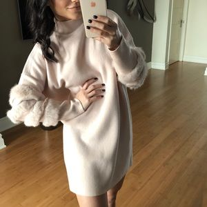 "Sweaters - 🔥 STARLET ""Nude"" Knit Fur Sleeve Long Sweater"